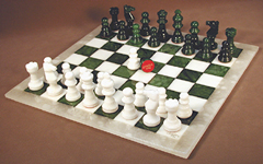 alabaster chess set - green