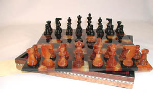 Black Brown Inlaid Alabaster Stone Chess Sets