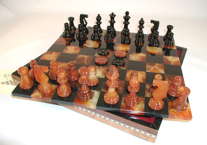 Black Brown Alabaster Chess Sets