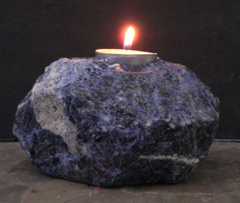 sodalite candle holders