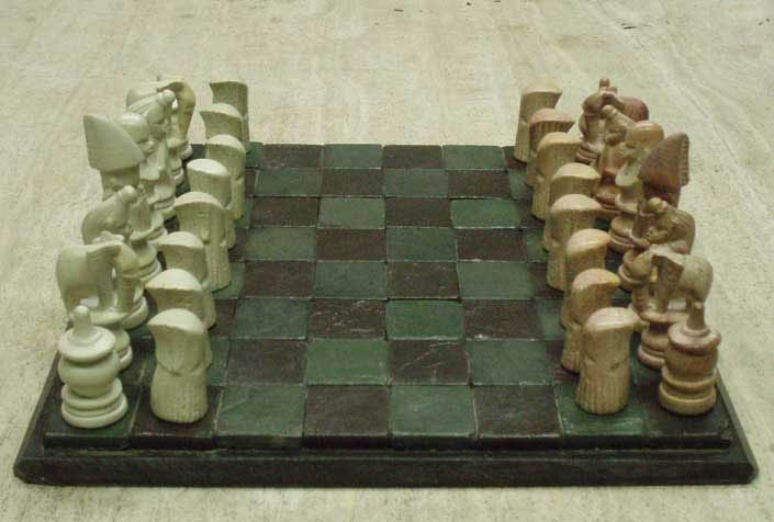 Stone villagers chess sets - Granite chess pieces ...