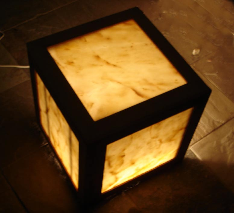 Illuminated Onyx Plant Stands