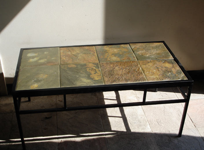 Custom stone coffee tables for Stone and iron coffee table