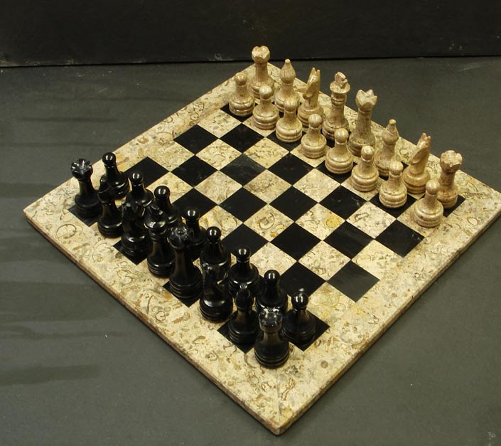 Fossil stone chess sets - Granite chess pieces ...