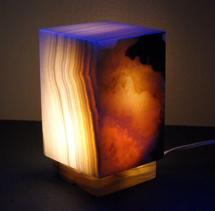 Lighting Behind Onyx Marbles : Square onyx lamps