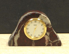 Red Zebra Marble Pillar Desk Clocks from pebblez.com