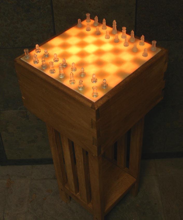 Illuminated Onyx Chess Tables