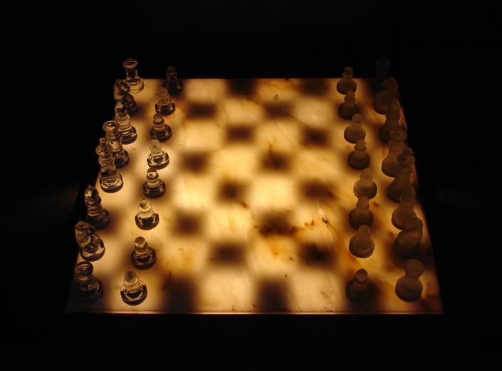 Illuminated Onyx Chess Tables
