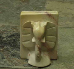 Carved Soapstone Elephant Bookends :  decorative stone libraries bookends