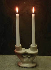double stone candle holders