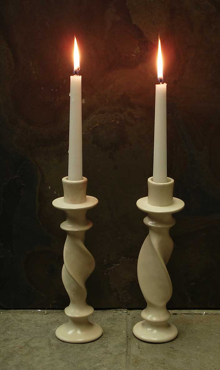 Twisted Stone Candle Holders