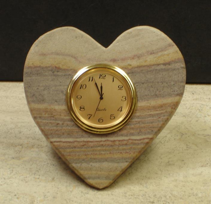 Rainbow Heart Stone Desk Clocks